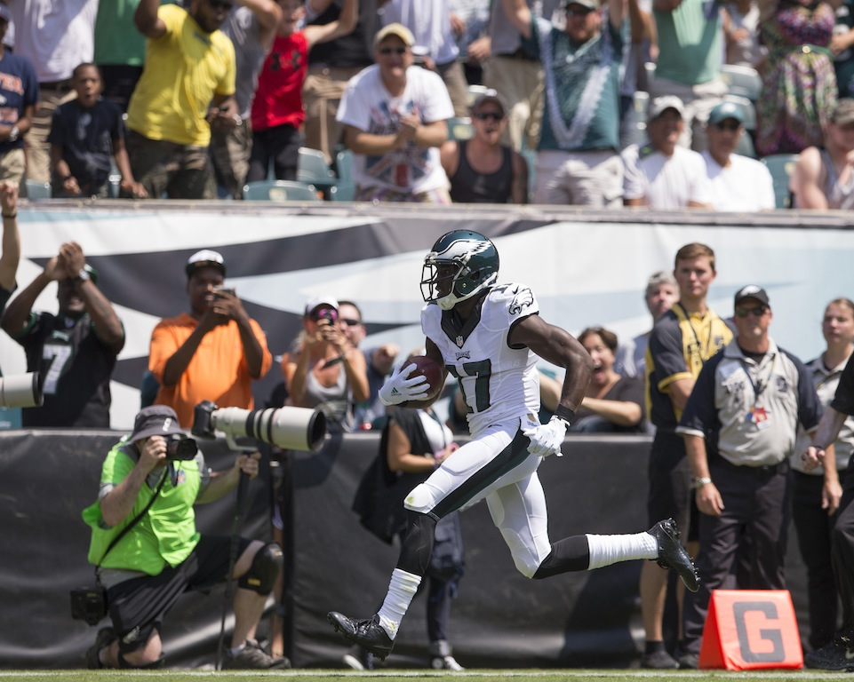 Nelson Agholor scores a touchdown in the preseason