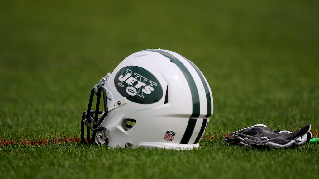FLORHAM PARK, NJ - AUGUST 07:  A New York Jets helmet at NY Jets Practice Facility on August 7, 2011 in Florham Park, New Jersey.