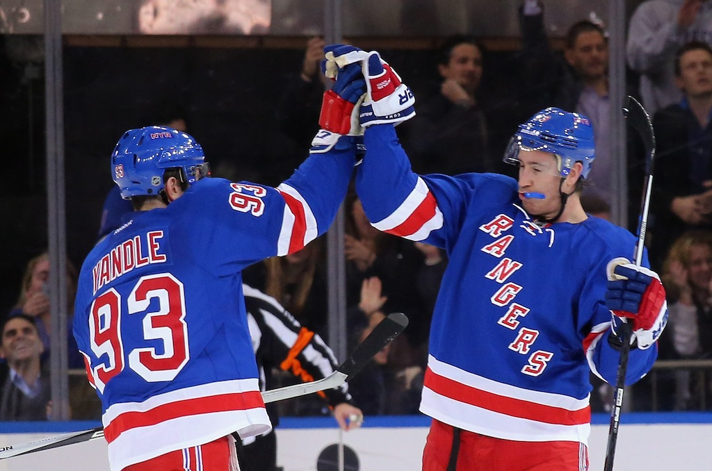 Keith Yandle #93 and Kevin Hayes #13 of the New York Rangers celebrate Hayes' third period goal