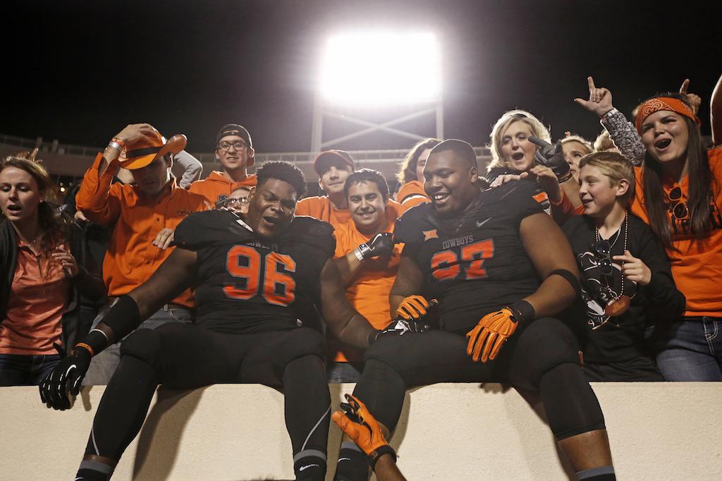 Oklahoma State Cowboys celebrate win over TCu
