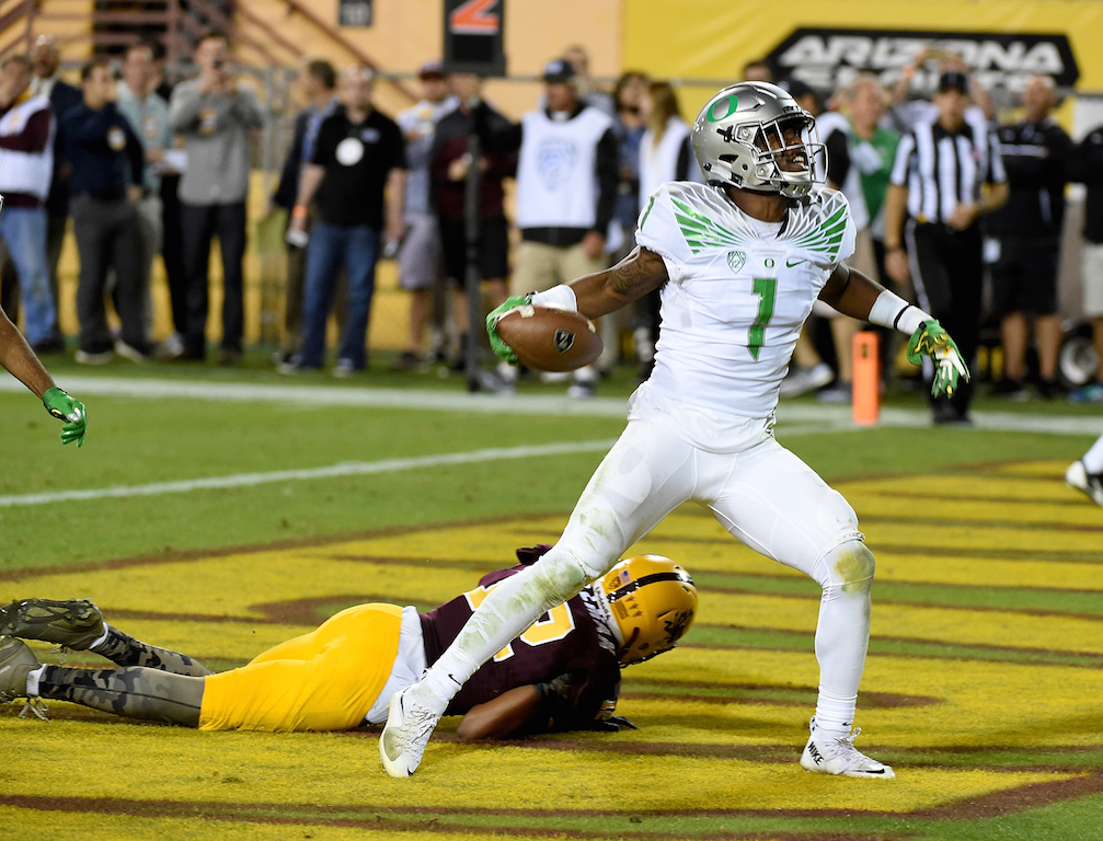 Arrion Springs #1 of the Oregon Ducks celebrates the game winning interception