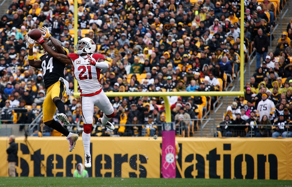 PITTSBURGH, PA - OCTOBER 18:  Patrick Peterson #21 of the Arizona Cardinals defends a pass to Antonio Brown #84 of the Pittsburgh Steelers during the 1st half of the game at Heinz Field on October 18, 2015 in Pittsburgh, Pennsylvania.