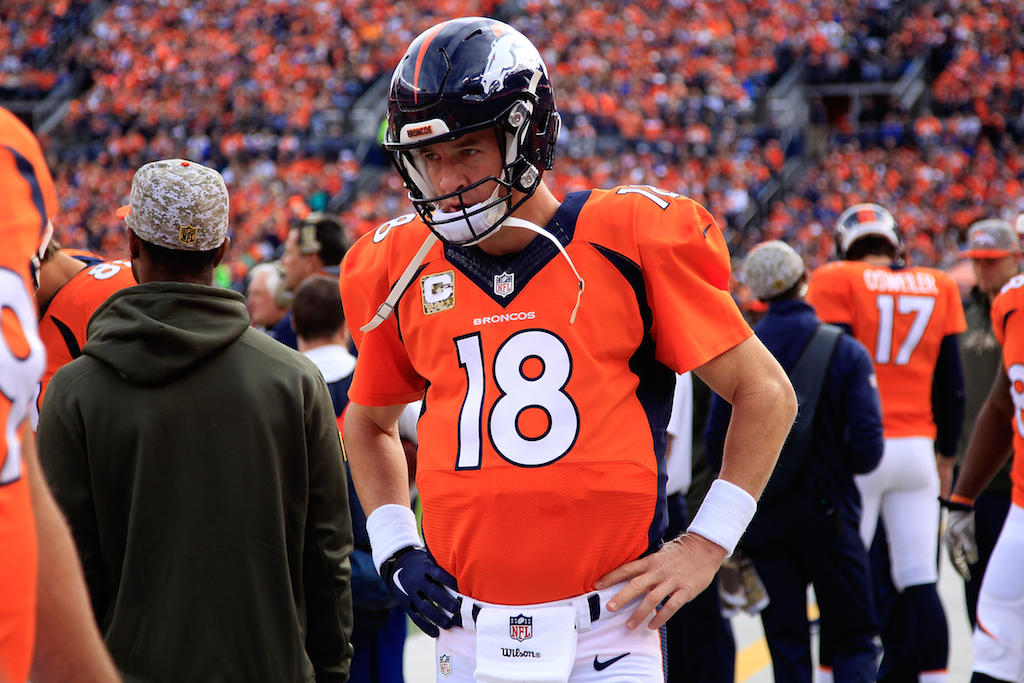 Peyton Manning prepares for a game against the Chiefs