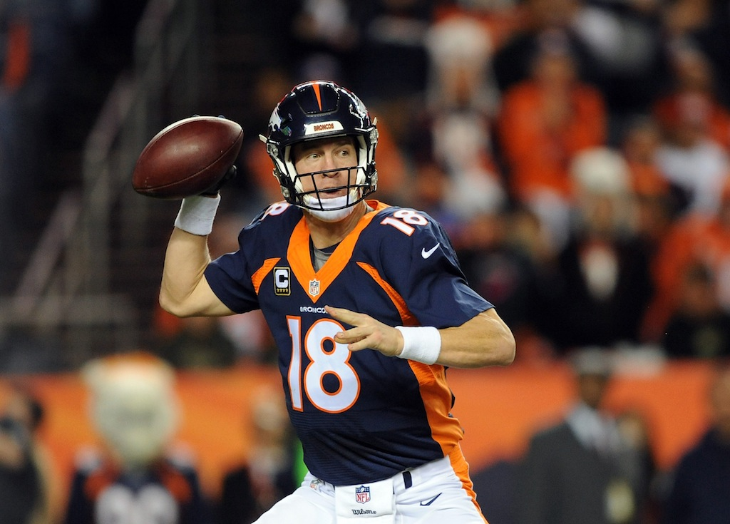 Peyton Manning throws against the Green Bay Packers