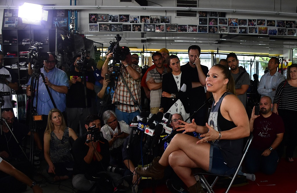 Mixed Martial Arts (MMA) fighter Ronda Rousey responds to questions during media day in Glendale, California on October 27, 2015 ahead of her November 14 fight in Melbourne, Australia against Holly Holm