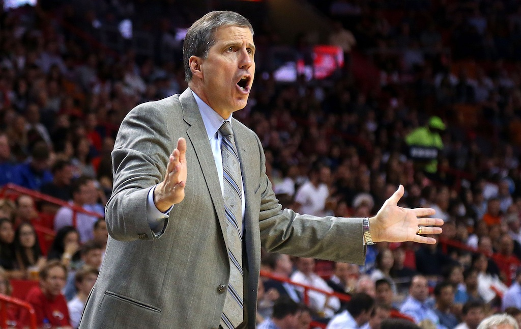 Randy Wittman coaches the Wizards against the Heat