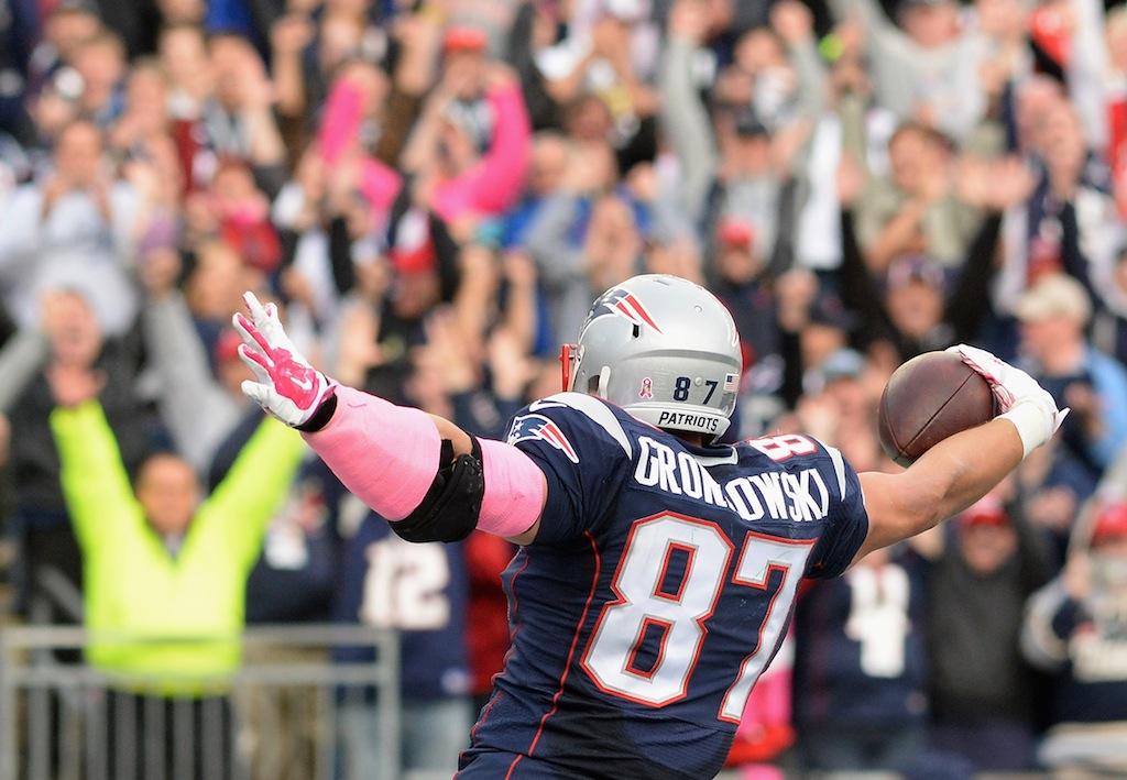 Rob Gronkowski celebrates a touchdown