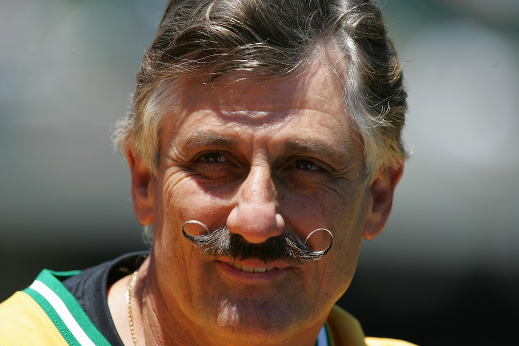 Rollie Fingers look on as the Oakland Athletics celebrate the 30th anniversary of their 1974 World Championship team