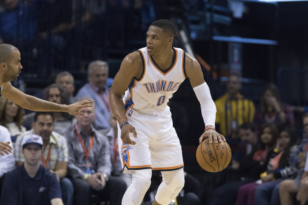 Russell Westbrook looks to post up