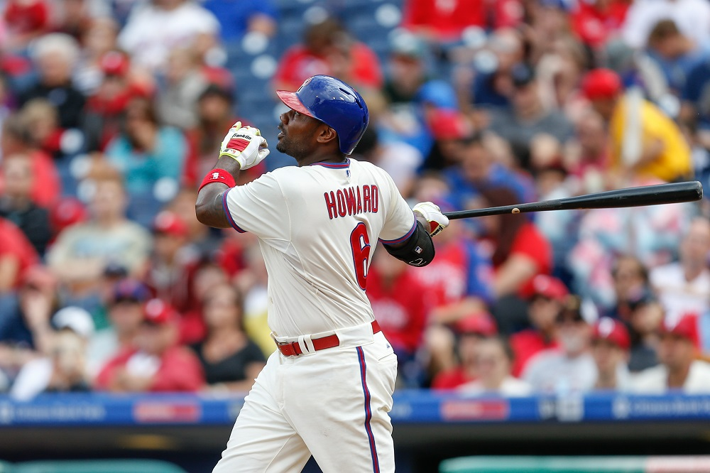 Ryan Howard #6 of the Philadelphia Phillies looks on after hitting a two-run home run in the third inning of the game