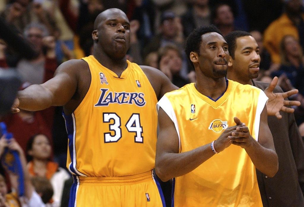 Shaquille O'Neal and Kobe Bryant celebrate