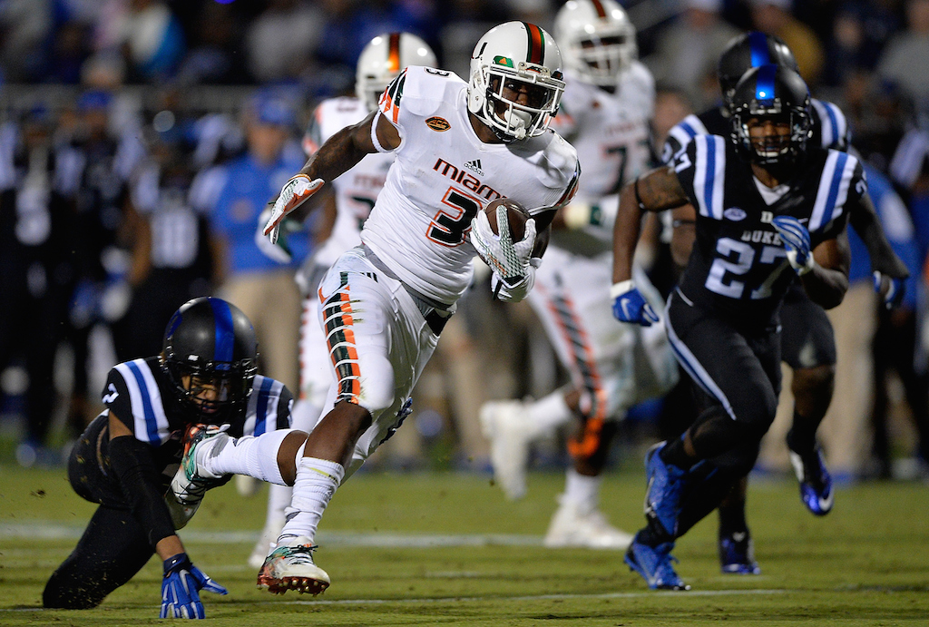 Stacy Coley #3 runs for the Hurricanes