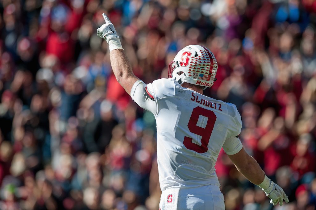 Tight end Dalton Schultz of the Stanford Cardinal celebrates a touchdown in 2015