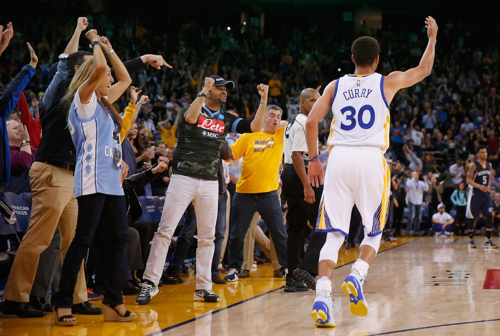 Golden State crowd cheers a Stephen Curry bucket