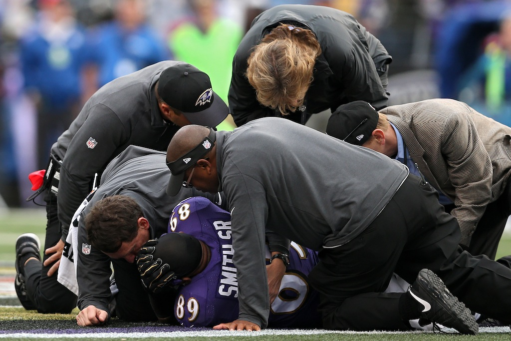 Steve Smith is being tended to after an following an injury