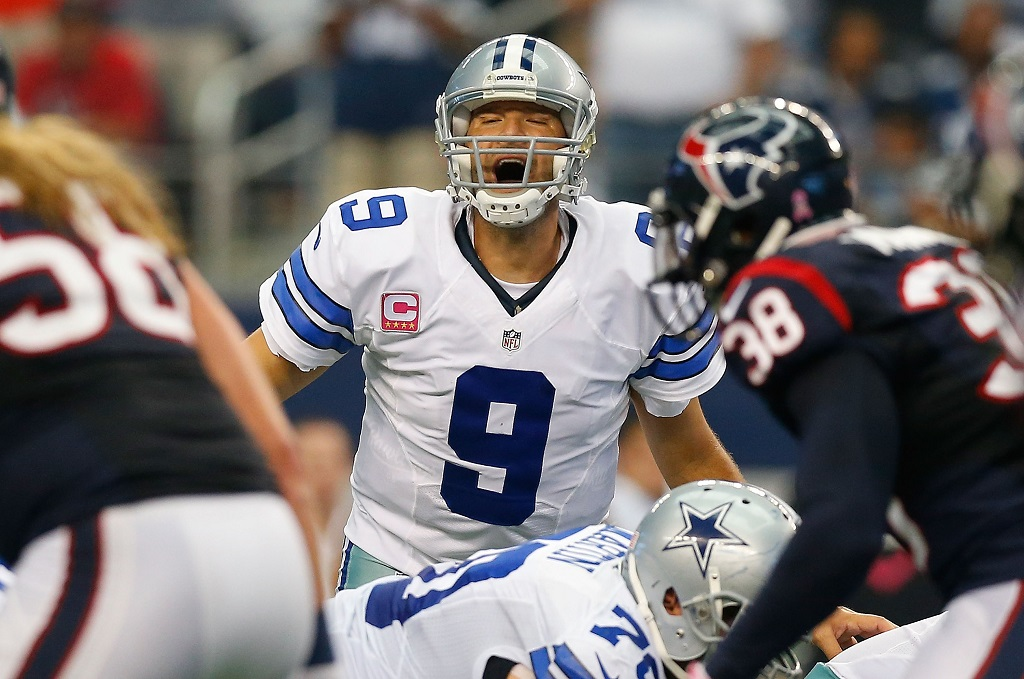 ARLINGTON, TX - OCTOBER 05:  Tony Romo #9 of the Dallas Cowboys calls signals against the Houston Texans in the second half at AT&T Stadium on October 5, 2014 in Arlington, Texas