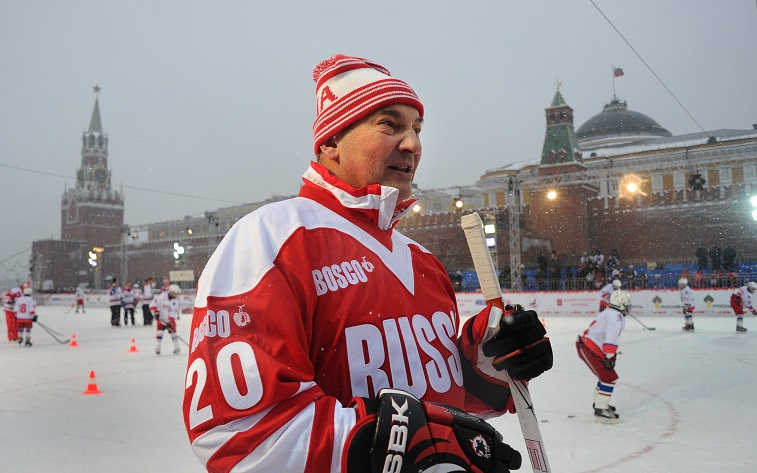 Soviet hockey star Vladislav Tretiak holds a masterclass at the Red square in Moscow on February 24, 2012. Top hockey players and former stars will face off on February 25 in Moscow on the invitation of Russian strongman Vladimir Putin to celebrate the 40th anniversary of the Cold War era Summit Series between the Canadian and Soviet teams. The Summit Series was the first ever meeting between the Soviet and an NHL-inclusive Canadian national ice hockey teams and an eight-game series was held in September 1972. In 1970s the Cold War between West and East was in full swing with intense feelings of nationalism were aroused by the contest both in Canada and the Soviet Union. The clash between the all-conquering Soviet Red Machine and Canadian NHL professional players represented the confrontation of two systems, which both desperately desired to prove their supremacy.