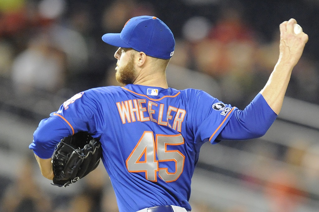 WASHINGTON, DC - SEPTEMBER 25:  Zack Wheeler #45 of the New York Mets pitches in the first inning during game two of a doubleheader baseball game against the Washington Nationals on September 25, 2014 at Nationals Park in Washington, DC.