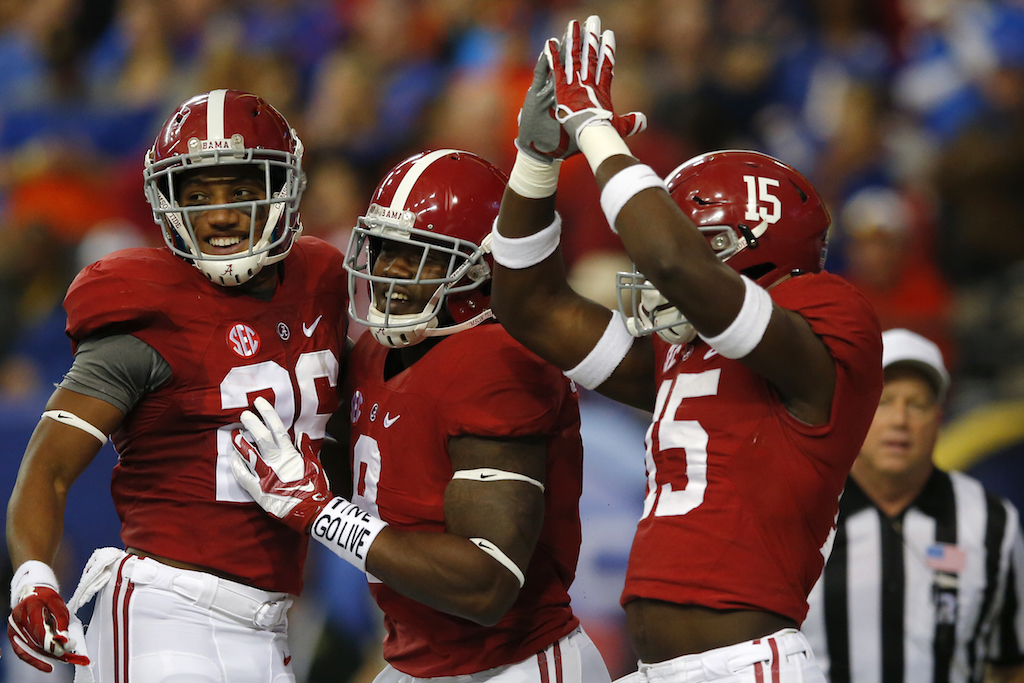 Alabama players celebrate a safety during the SEC championship game
