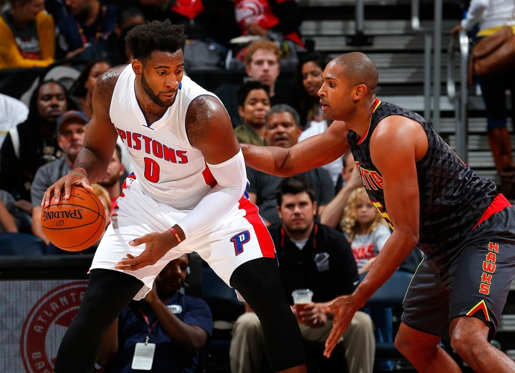 Andre Drummond tries to get past his defender.