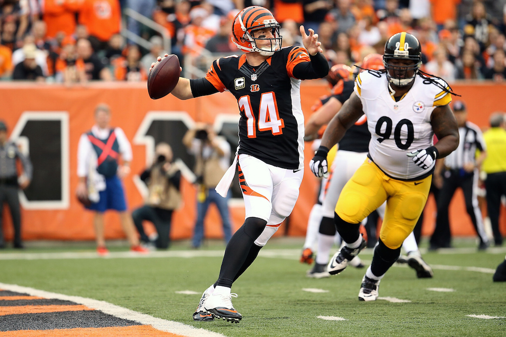 Andy Dalton looks to throw against the Steelers