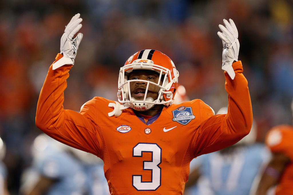 Artavis Scott #3 of the Clemson Tigers reacts after a play against the North Carolina Tar Heels