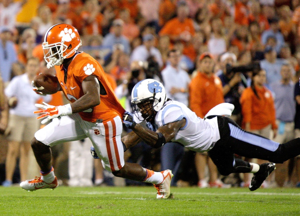 Artavis Scott #3 of the Clemson Tigers lunges for a touchdown during the game against the North Carolina Tar Heels