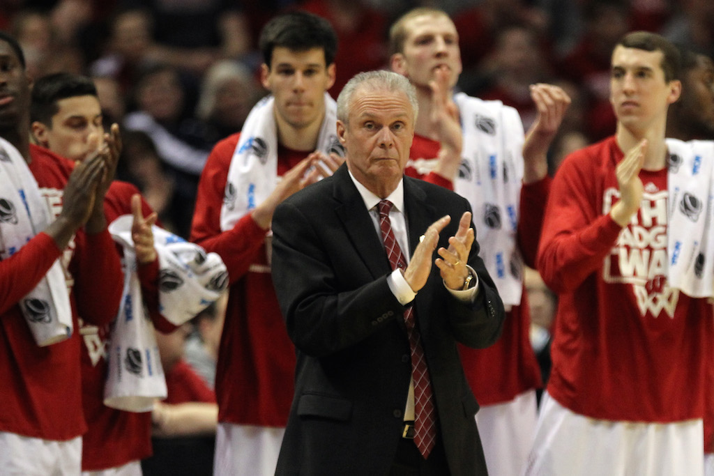 Bo Ryan coaching Wisconsin in the NCAA tournament