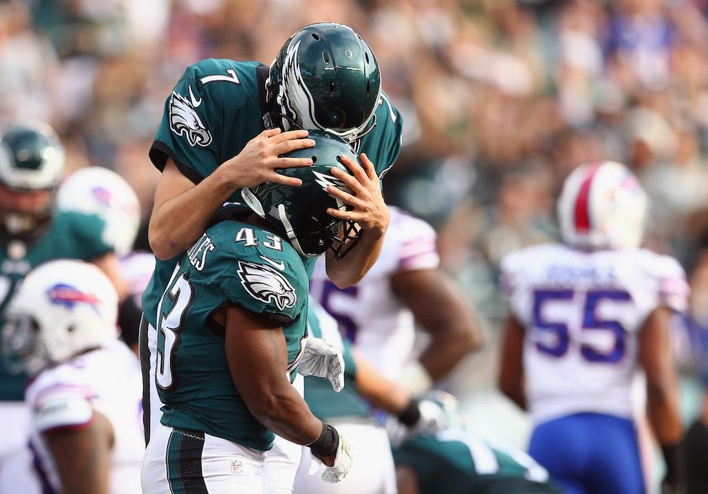 Sam Bradford and Darren Sproles celebrate a touchdown