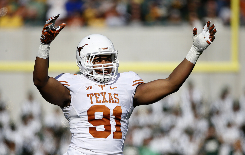 Bryce Cottrell #91 of the Texas Longhorns reacts against the Baylor Bears