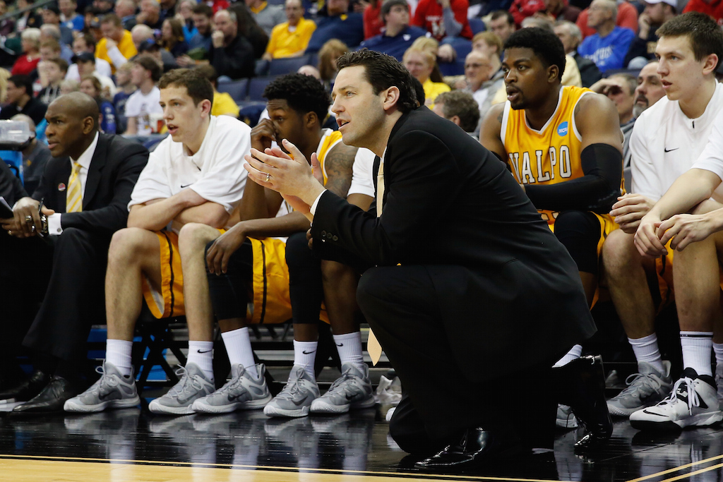 Bryce Drew coaches Valpo against Maryland