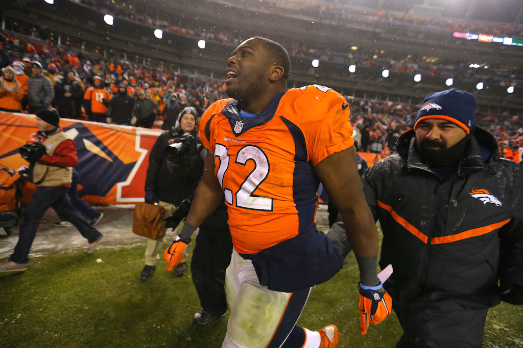C.J. Anderson walks off the field after a win over New England