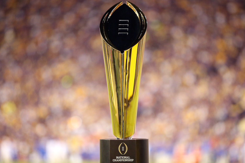College Football Playoff National Championship Trophy presented by Dr Pepper is seen at Tiger Stadium
