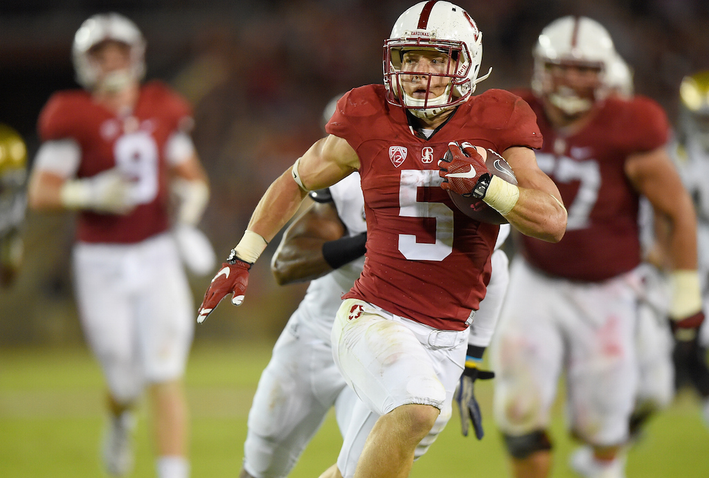 Christian McCaffrey runs for a touchdown against UCLA