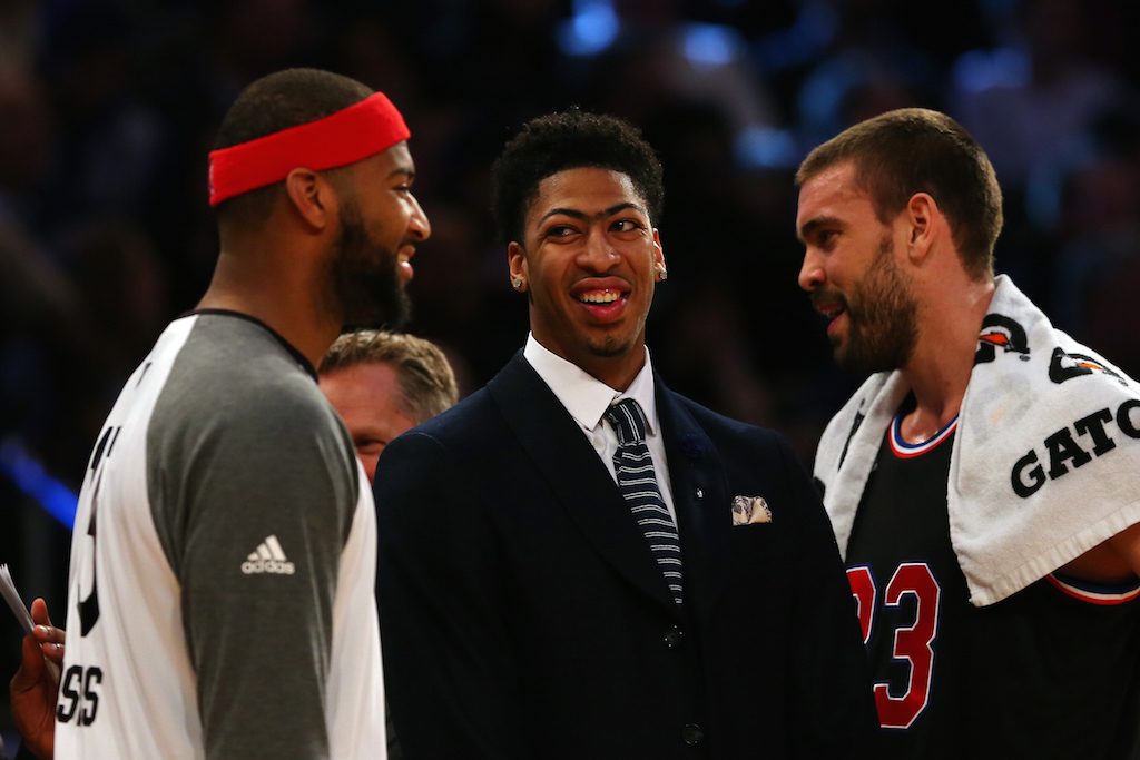 DeMarcus Cousins (L) talks with Anthony Davis (M) of the New Orleans Pelicans and the Western Conference and Marc Gasol #33 of the Memphis Grizzlies and the Western Conference during the 2015 NBA All-Star Game