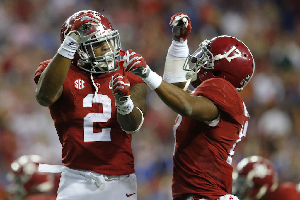 Running back Derrick Henry #2 of the Alabama Crimson Tide celebrates after scoring a touchdown
