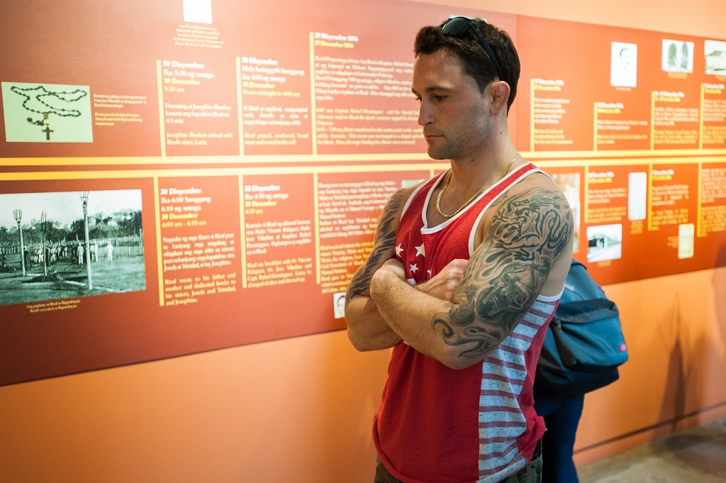 MANILA, PHILIPPINES - MARCH 10: UFC fighter Frankie Edgar looks at historical Filipino murals during the UFC Manila Press Conference on March 10, 2015 in Manila, Philippines.