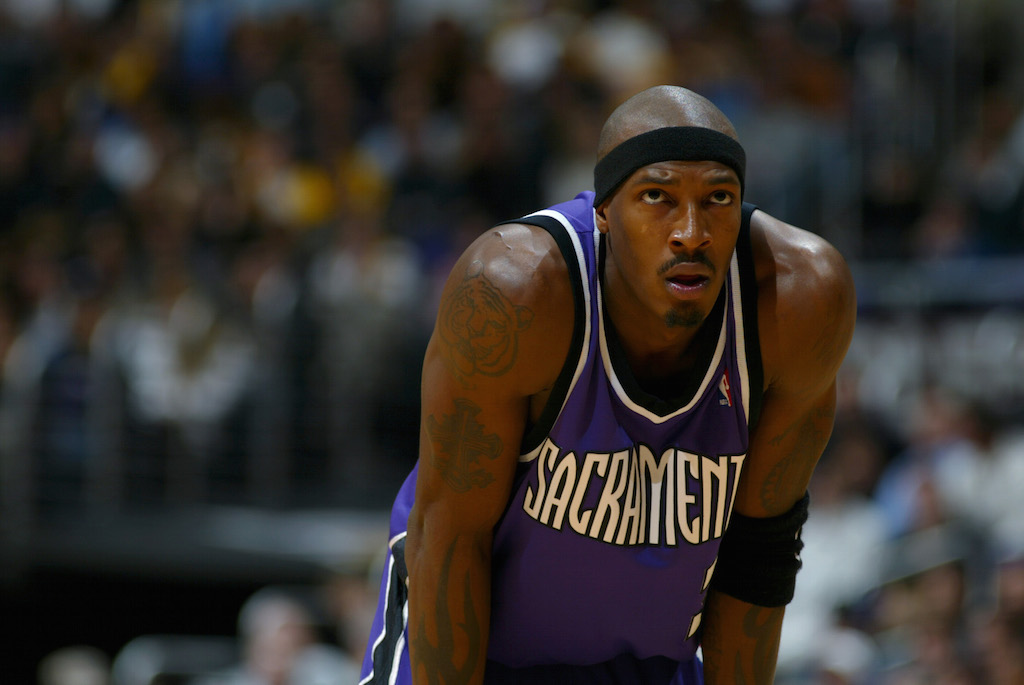 Gerald Wallace #3 of the Sacramento Kings rests during the game against the Los Angeles Lakers