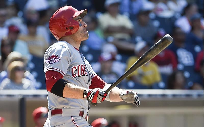 Joey Votto bats in Cincinnati Reds v San Diego Padres