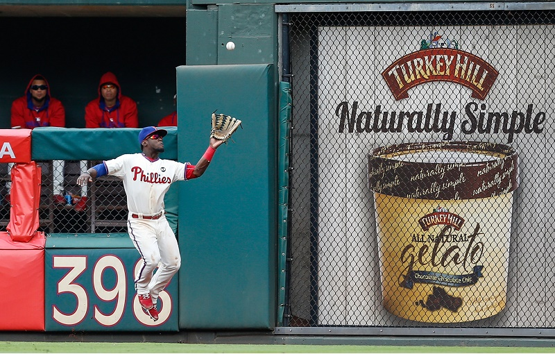 Odubel Herrera of the Philadelphia Phillies catches a long fly ball