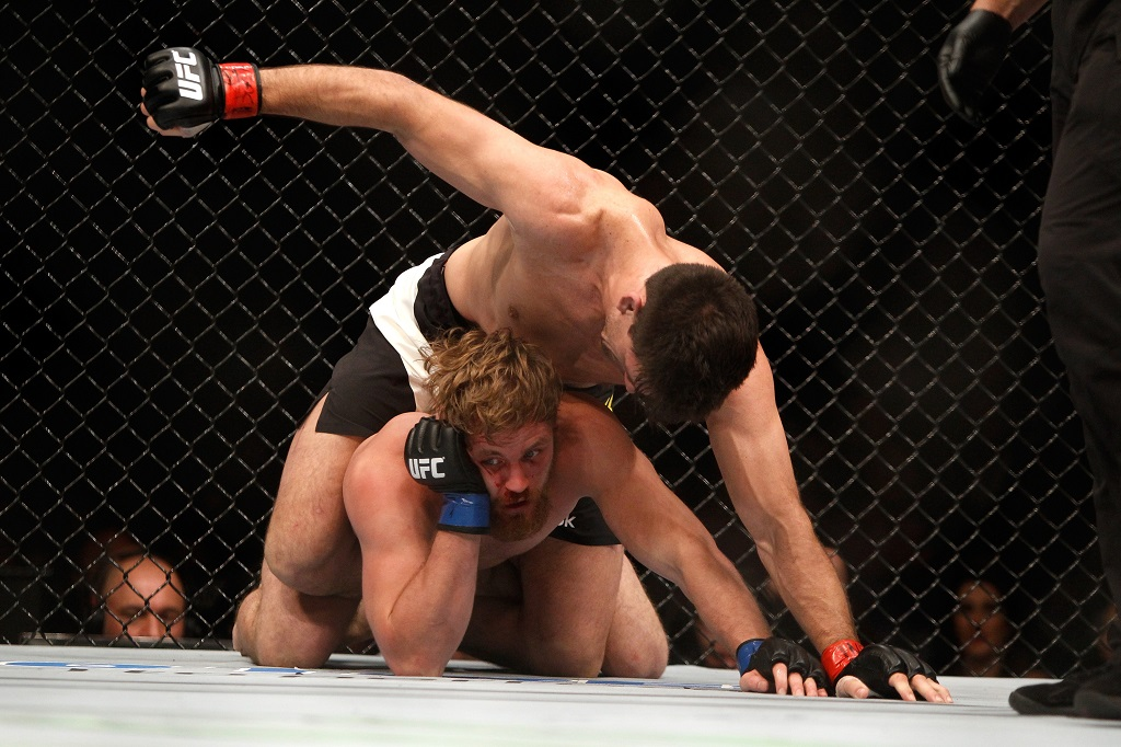 Demian Maia and Gunnar Nelson in a welterweight fight during UFC 194 on December 12, 2015 in Las Vegas, Nevada.