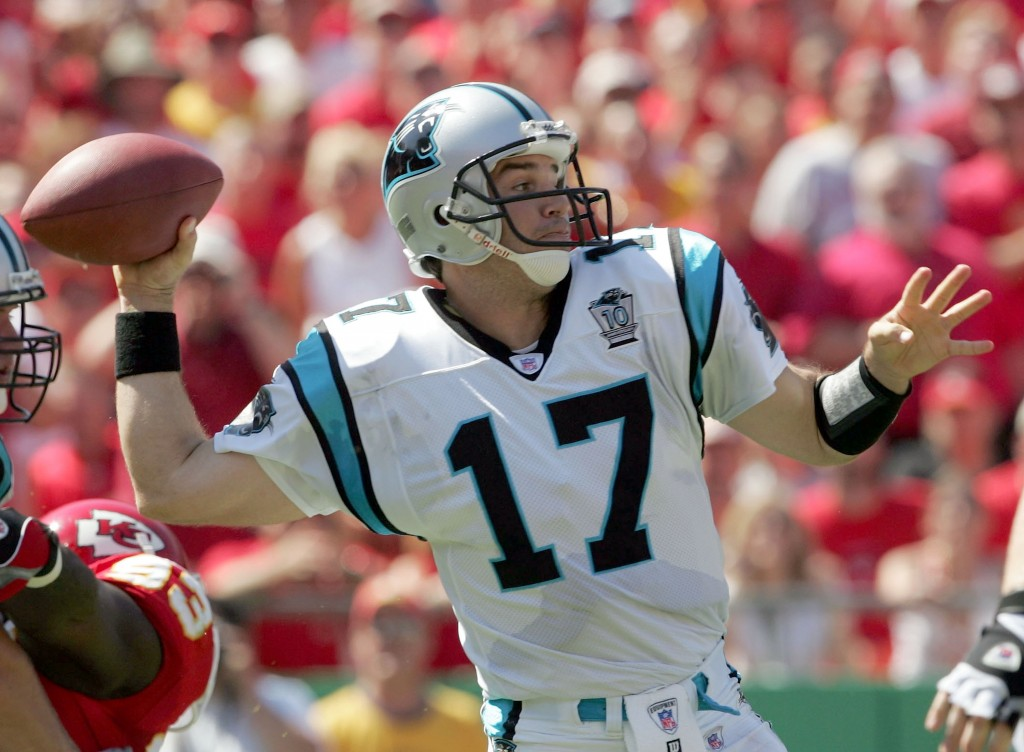 Jake Delhomme throws against Kansas City