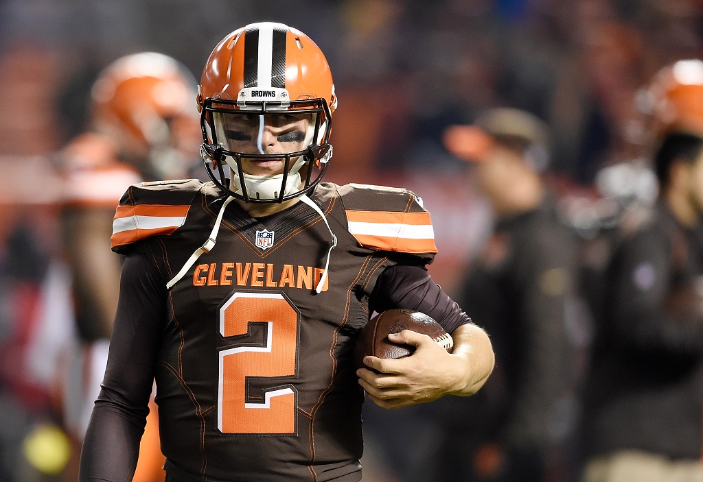 CLEVELAND, OH - NOVEMBER 30: Johnny Manziel #2 of the Cleveland Browns warms up prior to the game against the Baltimore Ravens at FirstEnergy Stadium on November 30, 2015 in Cleveland, Ohio.