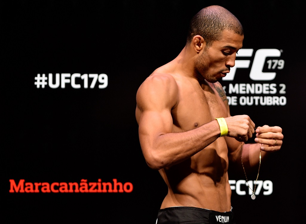 RIO DE JANEIRO, BRAZIL - OCTOBER 24:  Jose Aldo of Brazil prepares to weigh in during the UFC 179 weigh-in at Maracanazinho on October 24, 2014 in Rio de Janeiro, Brazil.