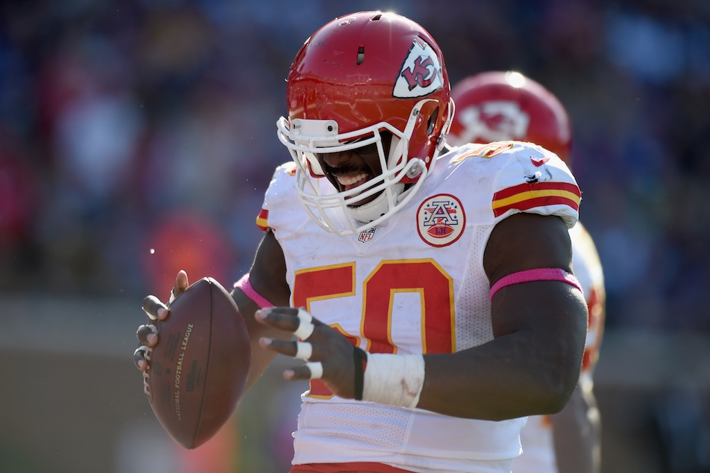 Justin Houston reacts during a game against the Vikings