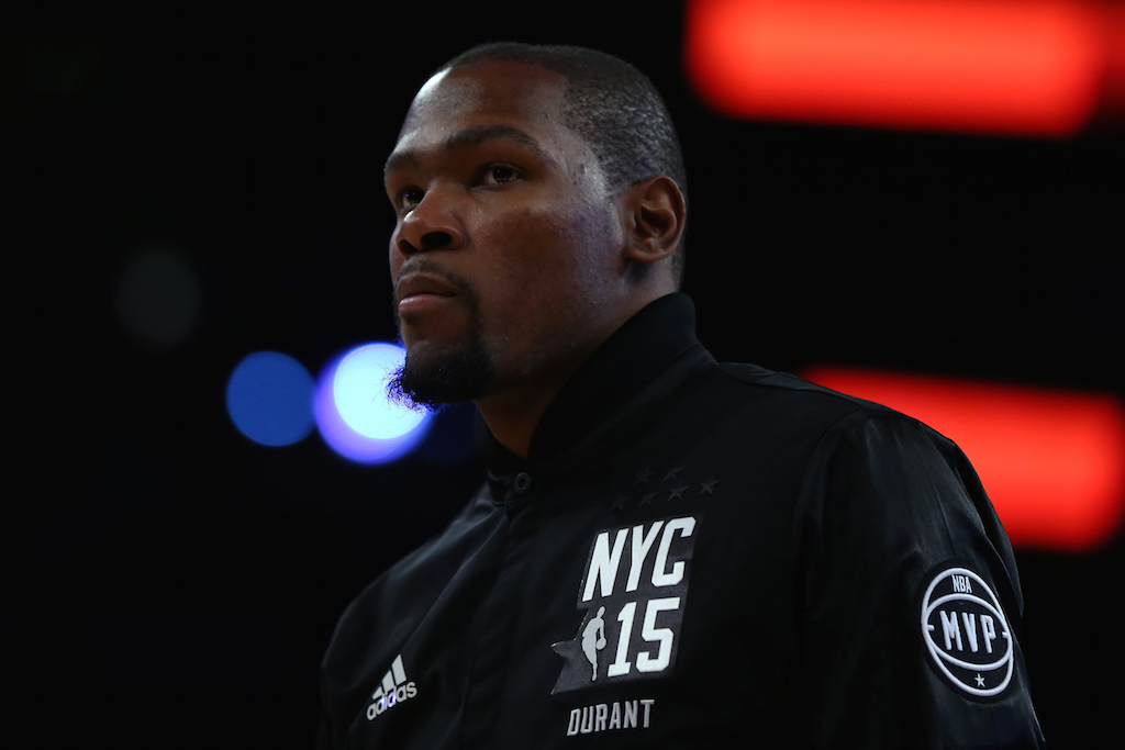 Kevin Durant looks on during the 2015 NBA All-Star Game