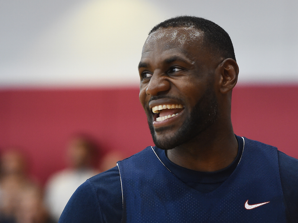 LeBron James smiles during a Team USA practice