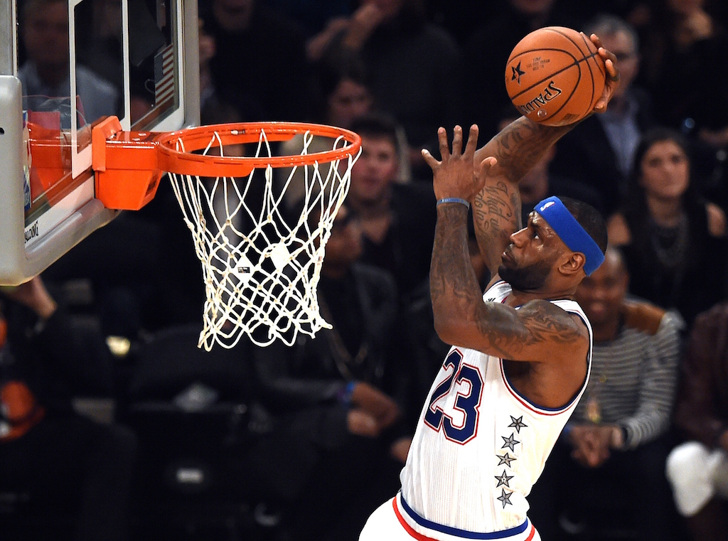 LeBron James dunks during the 2015 NBA All-Star Game