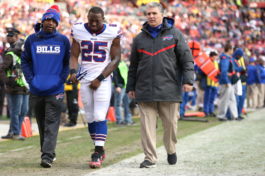 LeSean McCoy walks off the field after being injured