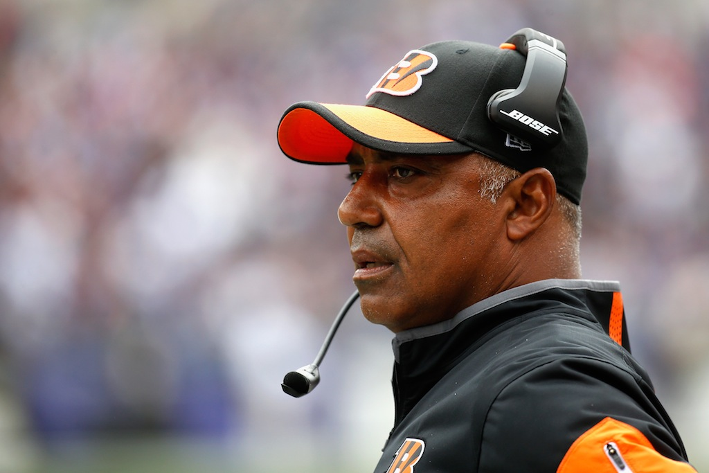 Marvin Lewis coaches against the Ravens